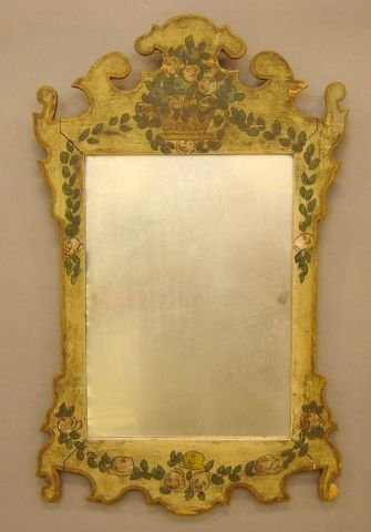 262: Chippendale style painted and decorated mirror