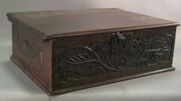 265: Early English oak Bible box