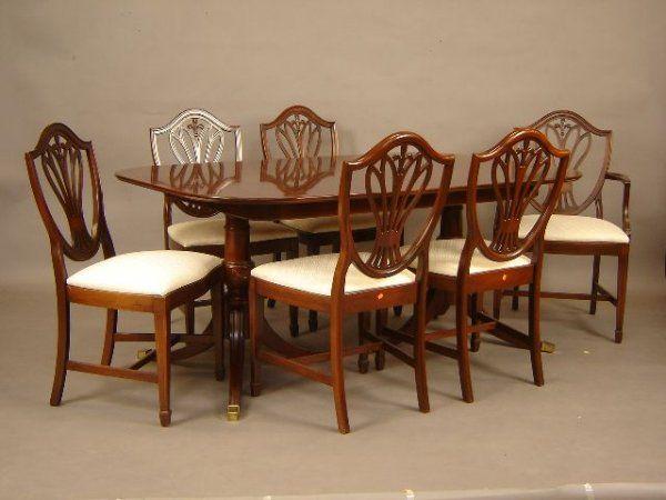 Mahogany hepplewhite style dining room set with ba