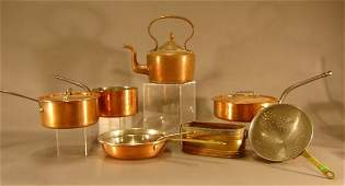 591 A collection of eight copper cook ware consisting