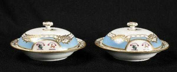 852: Pair of granger porcelain covered serving dishes.