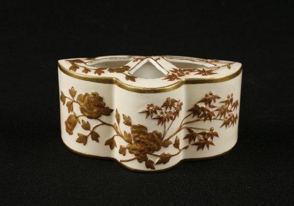 857: Royal Worcester three lobe flower holder