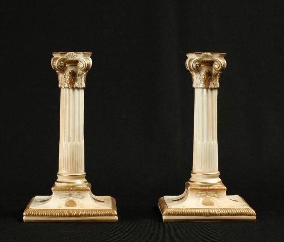 863: Pair of Royal Worcester Corinthian column candlest