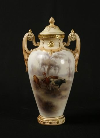 880: Granger & Co. Porcelain vase and cover painted by
