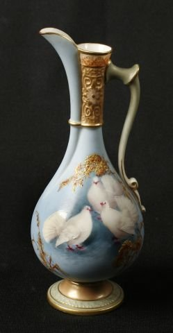 882:   Royal Worcester footed ewer painted by C.H. C. B