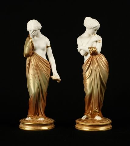 923: Pair of Royal Worcester figure of Joy and Sorrow.