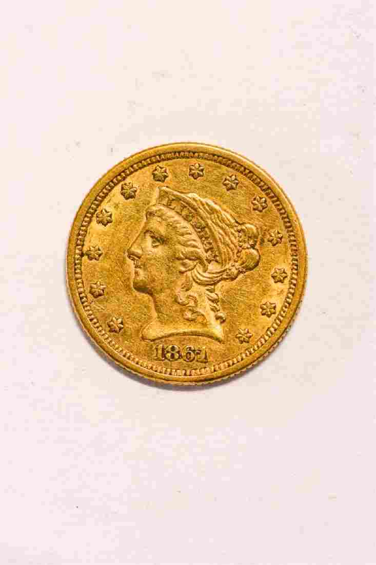 1861 UNITED STATES LIBERTY HEAD GOLD $2 1/2