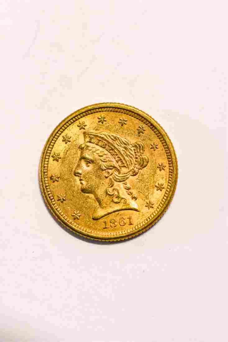 1861 UNITED STATES LIBERTY HEAD GOLD $2 1/2