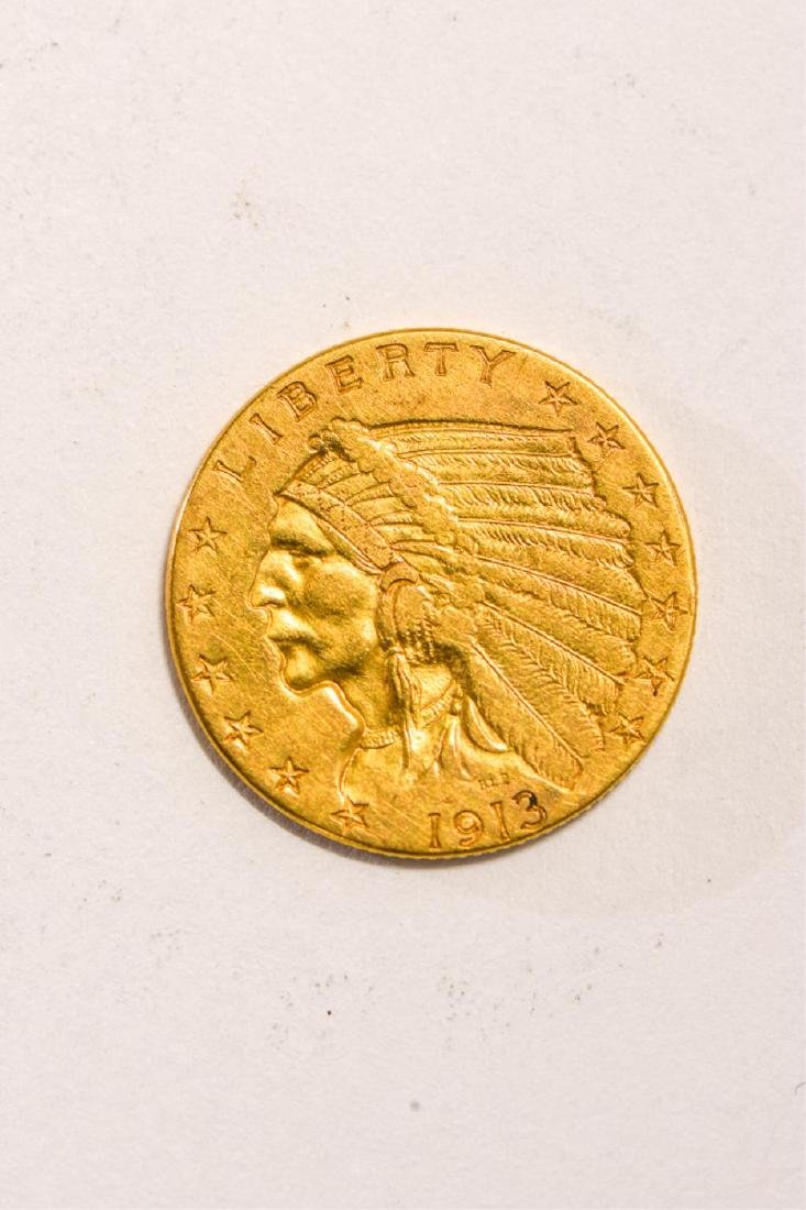 1913 UNITED STATES INDIAN HEAD GOLD $2 1/2