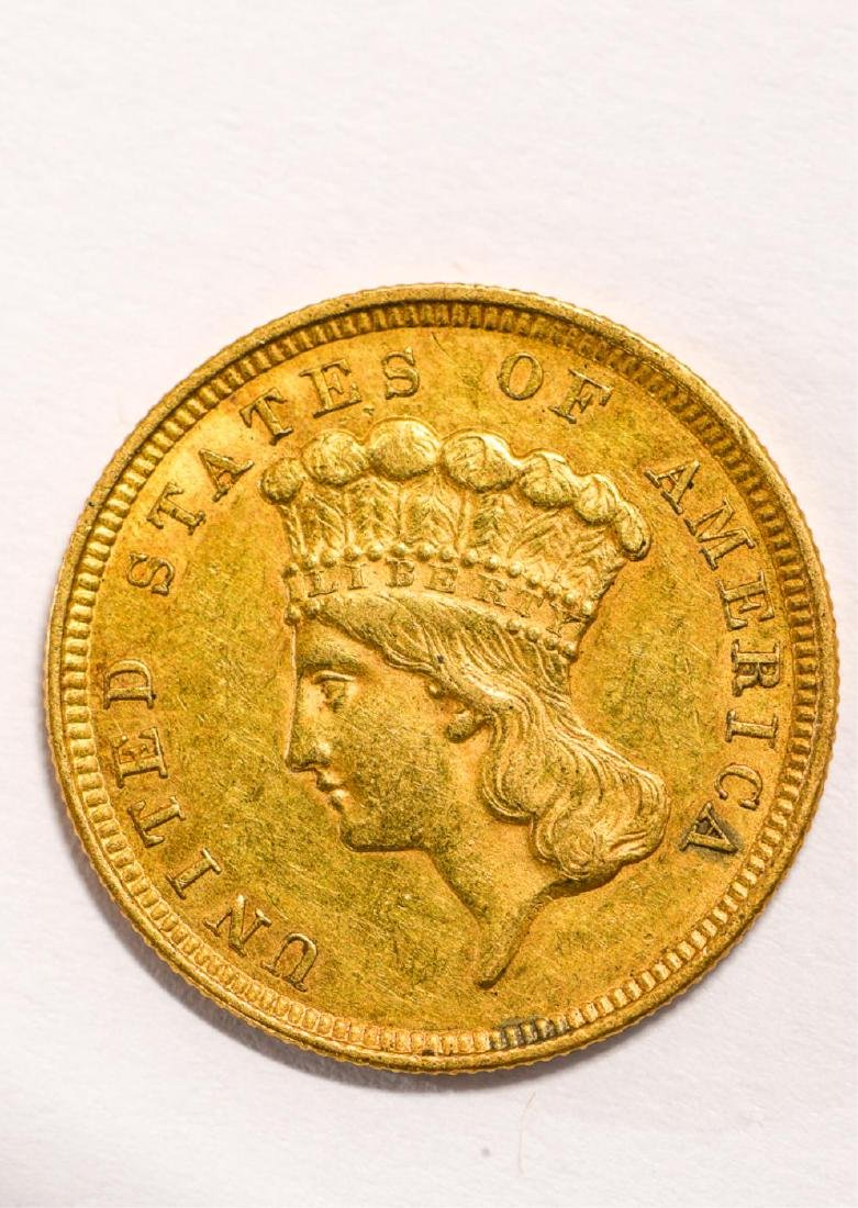 1854 UNITED STATES INDIAN PRINCESS HEAD GOLD $3