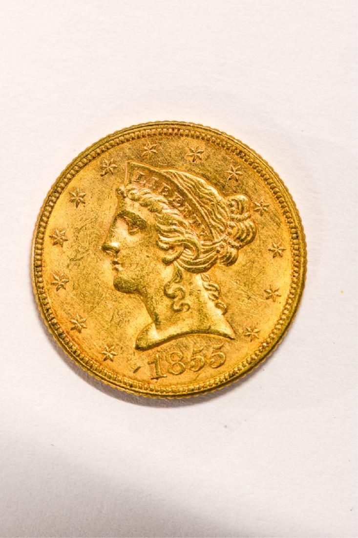1855 UNITED STATES LIBERTY HEAD GOLD $5