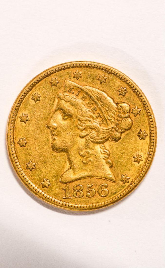 1856 UNITED STATES LIBERTY HEAD GOLD $5