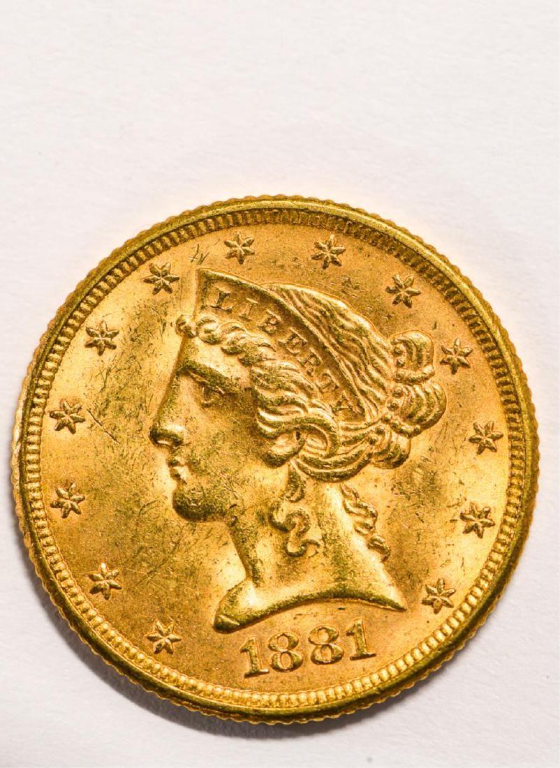 1881 UNITED STATES LIBERTY HEAD GOLD $5