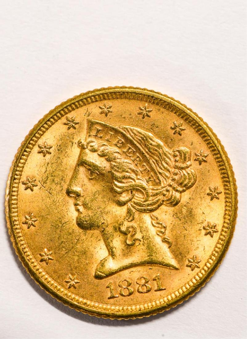 1881 UNITED STATES LIBERTY HEAD GOLD $5