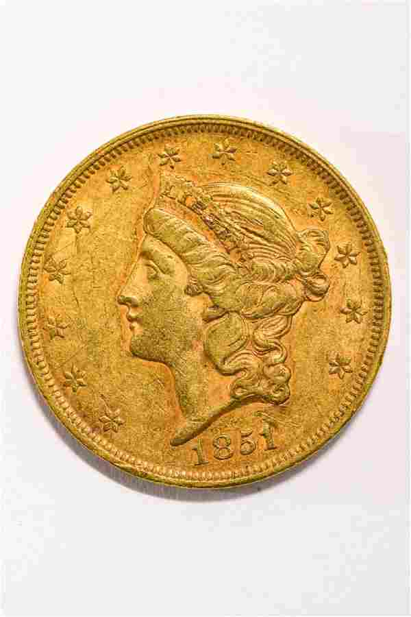 1851 UNITED STATES LIBERTY HEAD GOLD $20