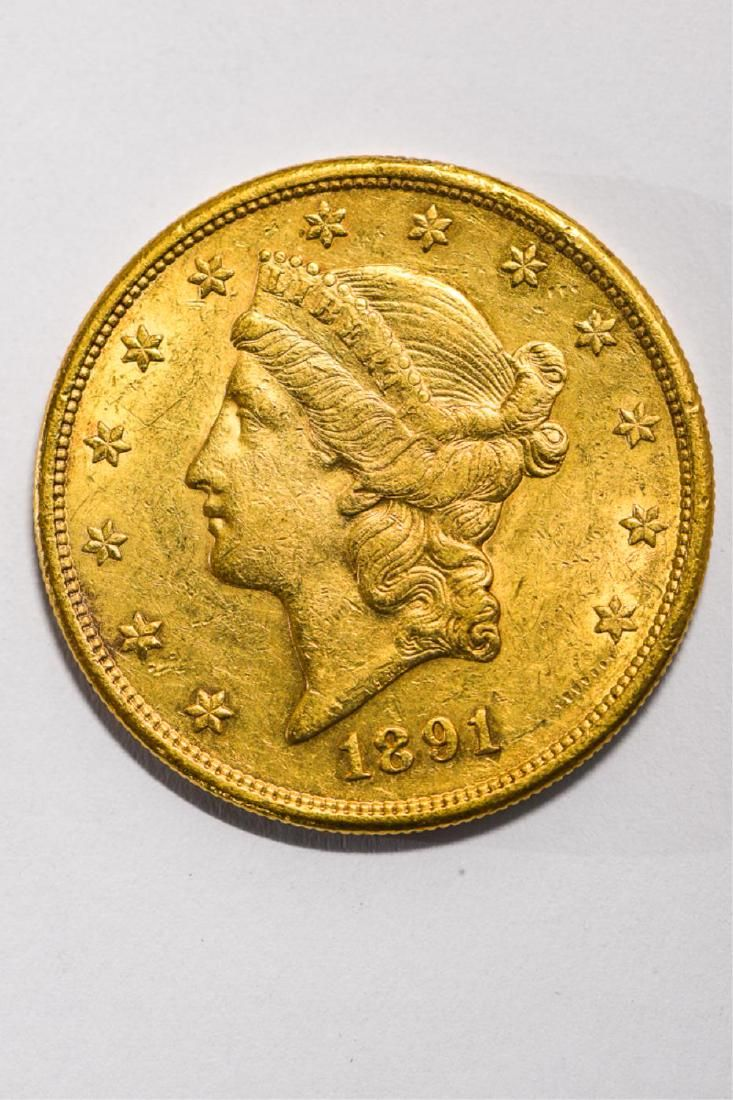 1891-S UNITED STATES LIBERTY HEAD GOLD $20