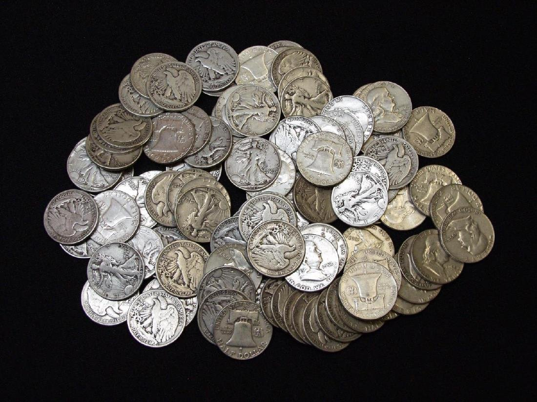 (100) UNITED STATES SILVER HALF DOLLARS