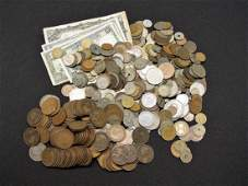 LARGE LOT OF FOREIGN COINS AND CURRENCY