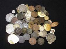 GROUP LOT OF TOKENS, COINS AND EXONUMIA