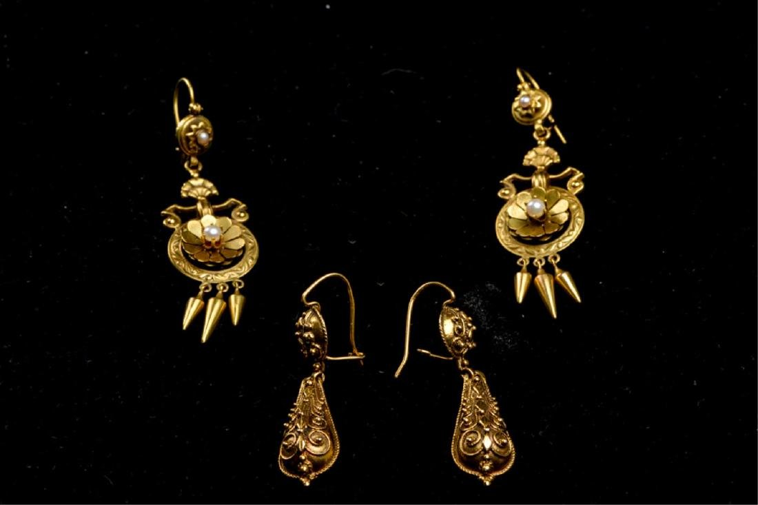 (2) PAIR OF VICTORIAN 14K GOLD EARRINGS