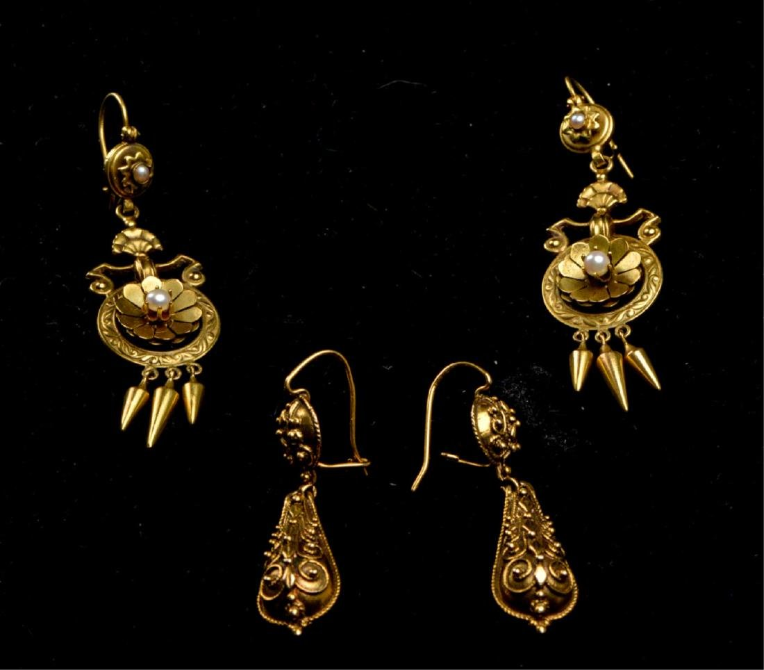 (2) PAIR OF VICTORIAN 14K GOLD EARRINGS - 4