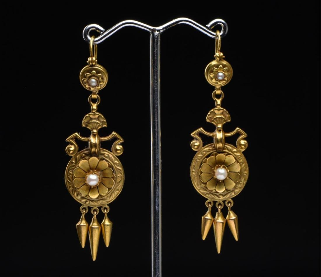 (2) PAIR OF VICTORIAN 14K GOLD EARRINGS - 5