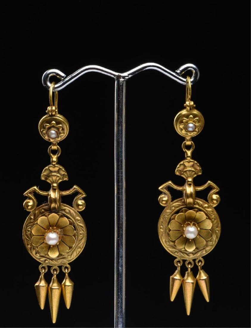 (2) PAIR OF VICTORIAN 14K GOLD EARRINGS - 6