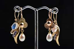 (2) PAIR OF CONTEMPORARY 14k GOLD EARRINGS