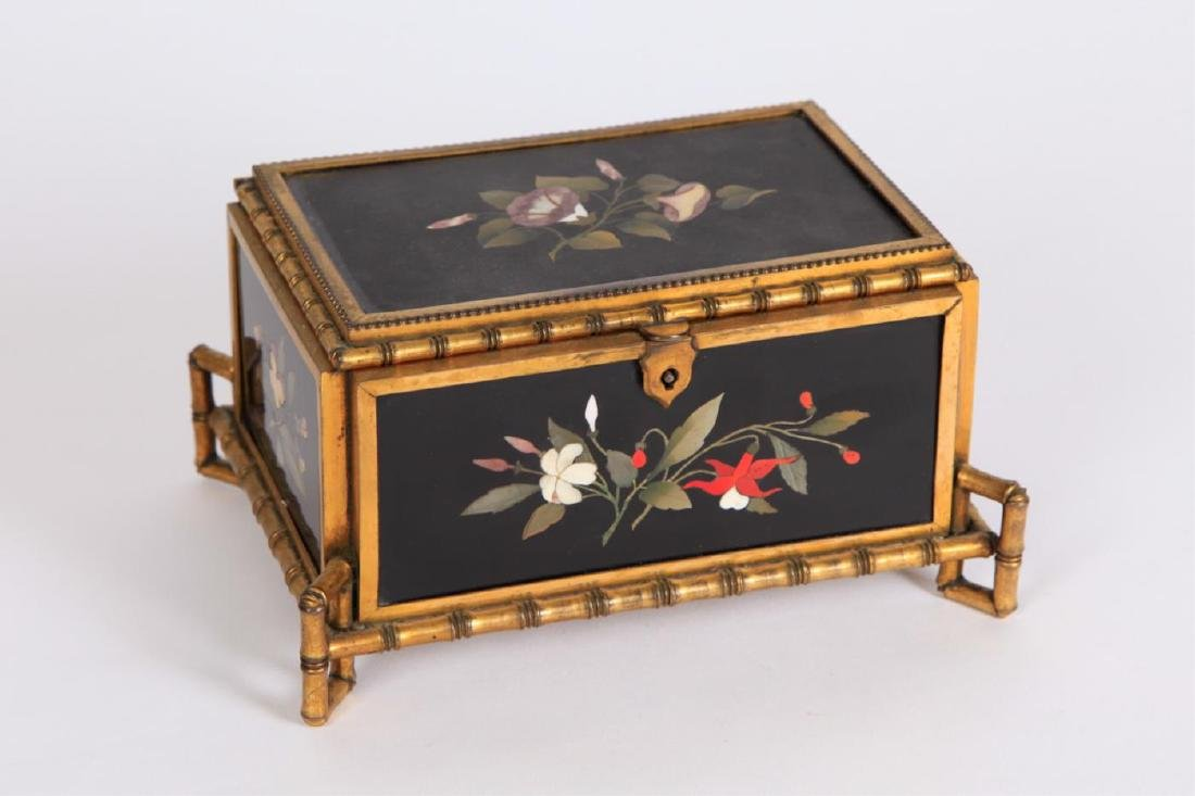 PIETRA DURA & GILT BRONZE JEWELRY BOX