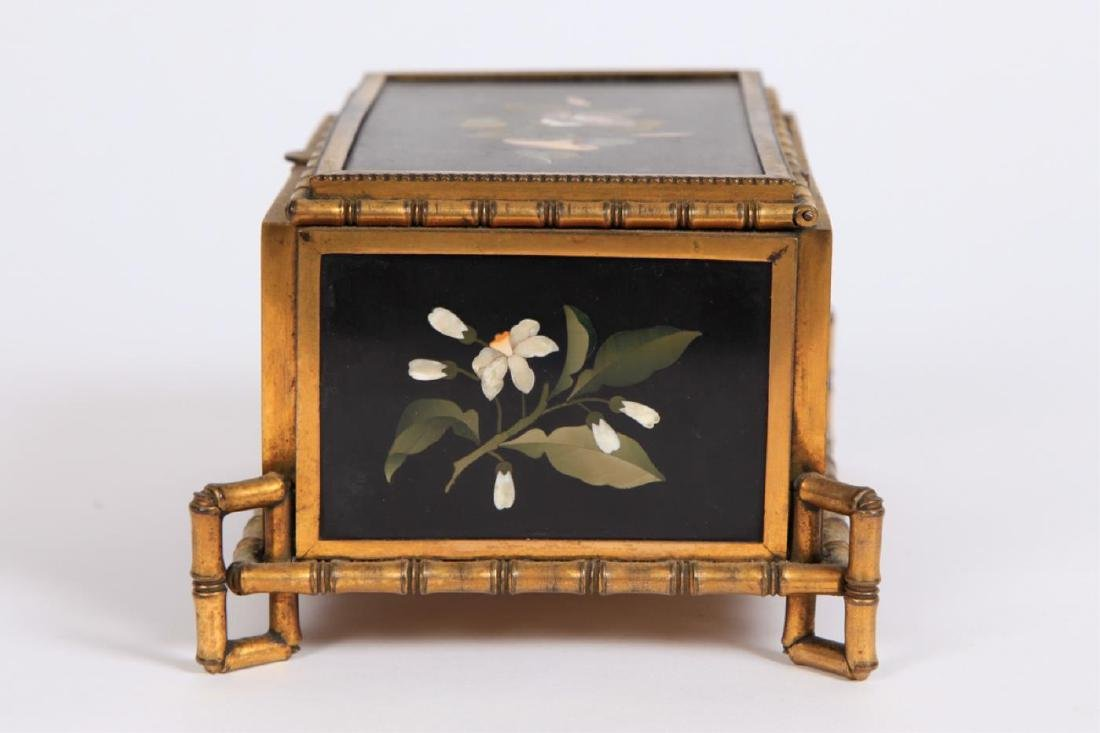 PIETRA DURA & GILT BRONZE JEWELRY BOX - 2