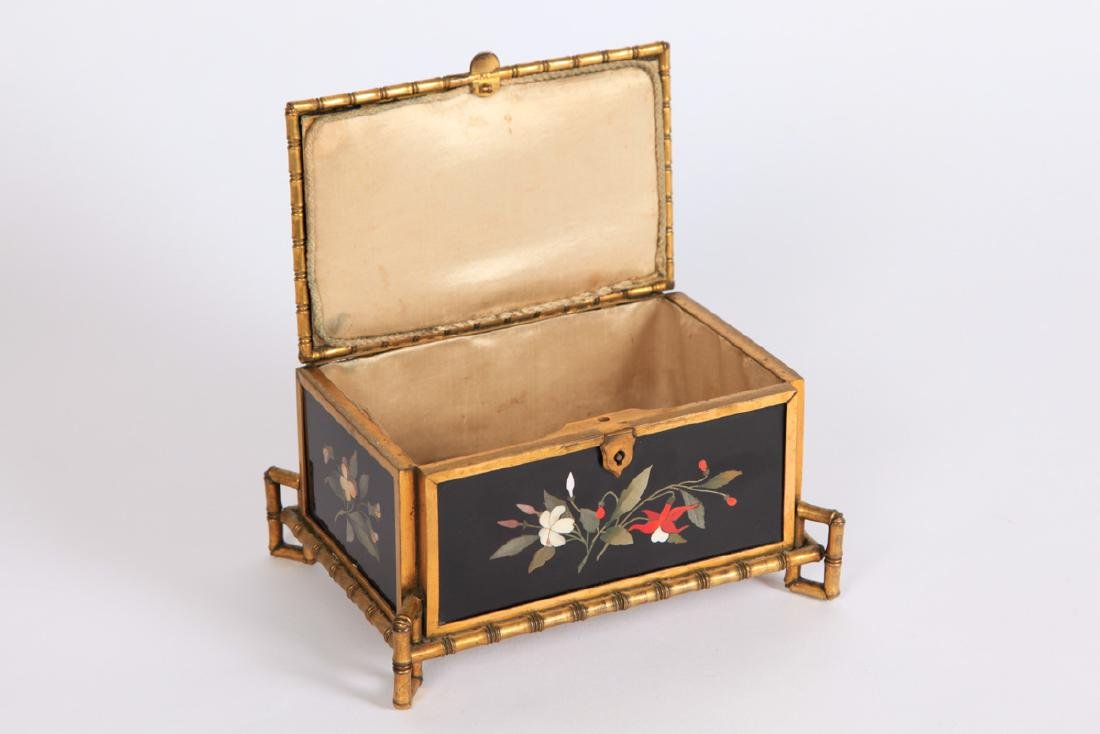 PIETRA DURA & GILT BRONZE JEWELRY BOX - 4