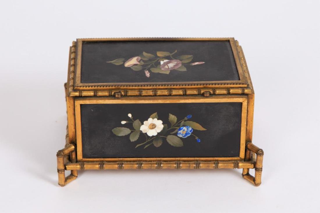 PIETRA DURA & GILT BRONZE JEWELRY BOX - 7