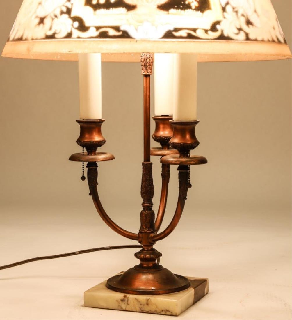 BRONZE (3) LIGHT PAIRPOINT TABLE LAMP - 8