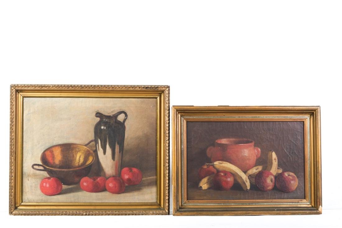TWO AMERICAN SCHOOL OIL ON CANVAS STILL LIFE'S
