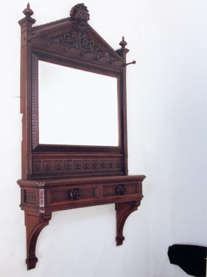 GOTHIC REVIVAL WALNUT MIRROR attr. to DANIEL PABST