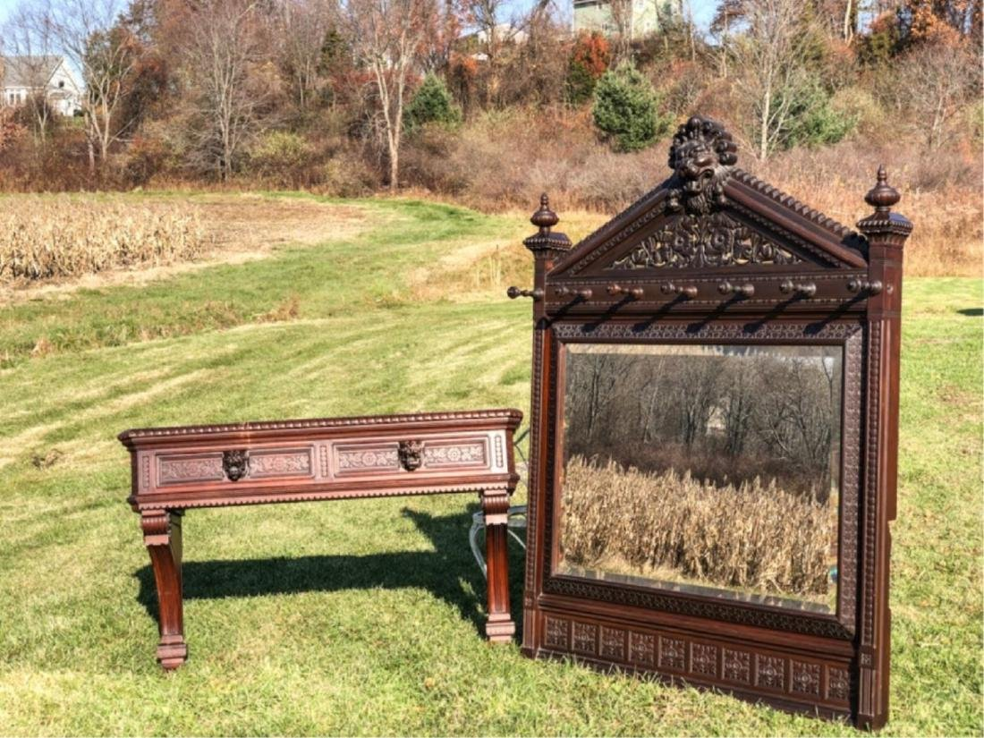 GOTHIC REVIVAL WALNUT MIRROR attr. to DANIEL PABST - 2