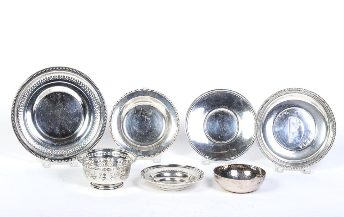 (7) STERLING SILVER PLATES AND BOWLS