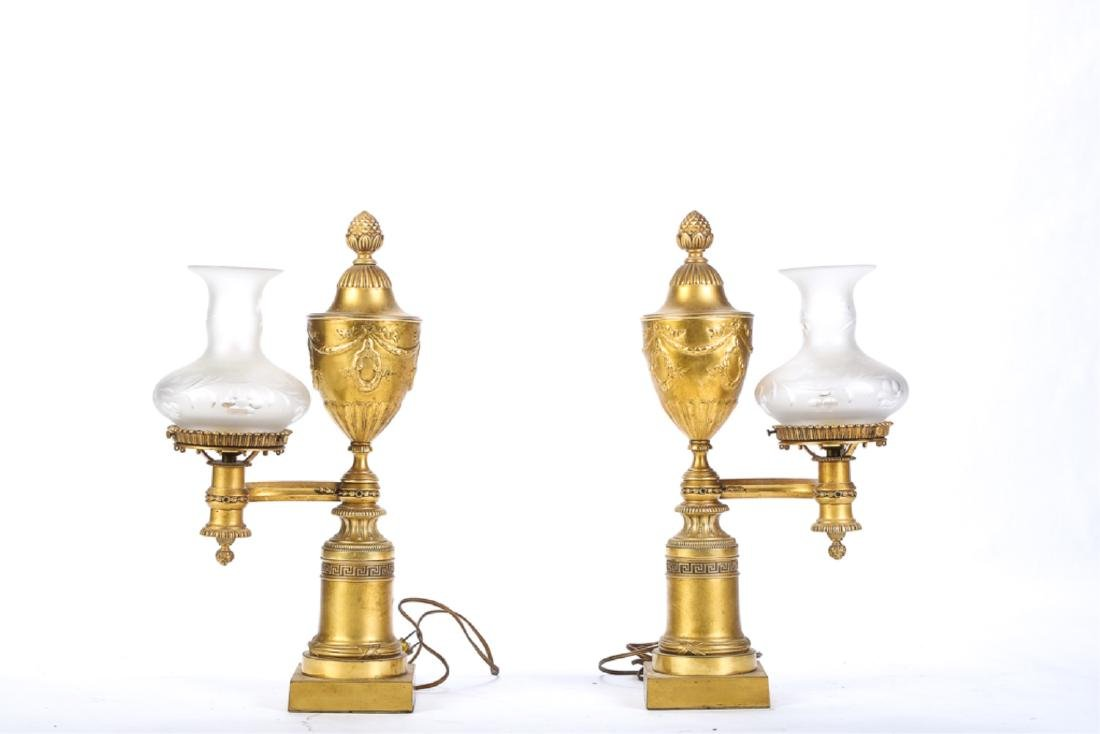 PAIR of FRENCH GILT BRONZE ARGON-FORM TABLE LAMPS