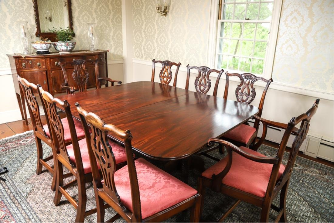 IMPORTANT SET OF (12) CHIPPENDALE DINING CHAIRS
