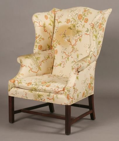 1: American Chippendale mahogany wing chair