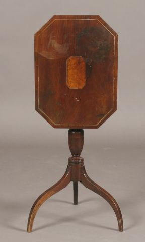 2: Federal mahogany inlaid tilt top candle stand