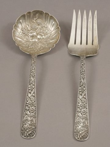 6: S. Kirk & Son sterling salad fork and spoon
