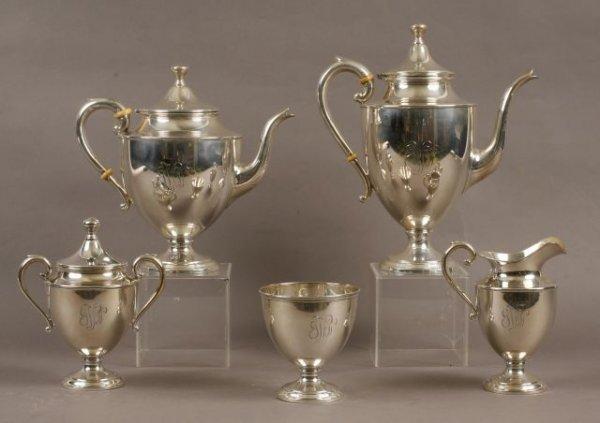 13: Five piece silver tea service