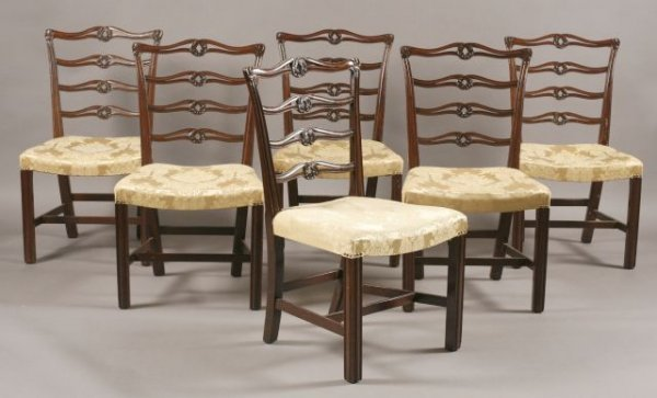 15: Set of six custom mahogany Chippendale style dining