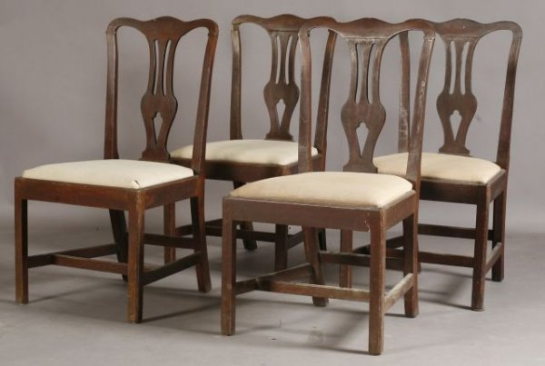16: Set of four Chippendale style mahogany side chairs