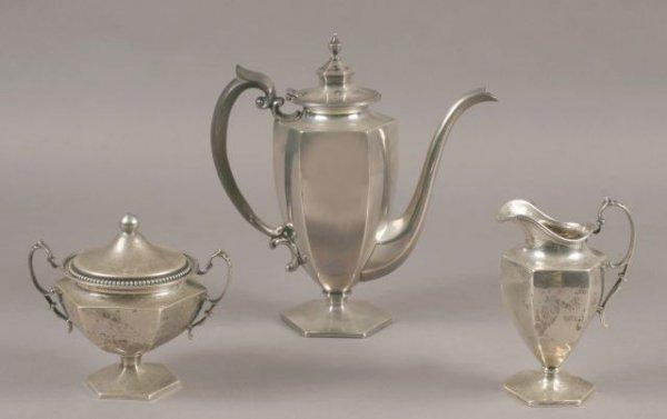 21: 1920's sterling three piece assemble tea service