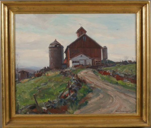 """23: Emile Gruppe, American (1896-1978) """"Vermont Barns"""""""