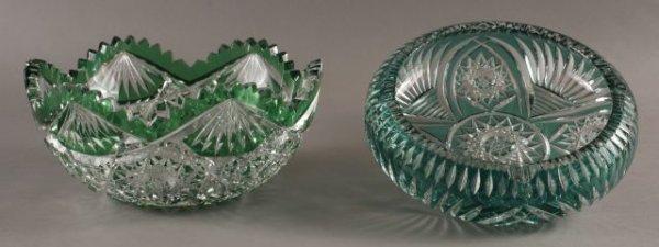 71: Two cut glass vessels