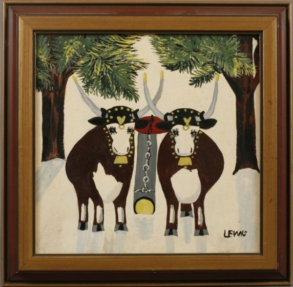 424: Maude Lewis, Canadian (1903-1970) Oxen, signed Lew