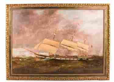 """CLIPPER SHIP IN ROUGH SEAS"""